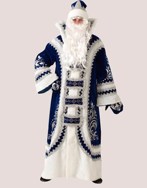 Купеческий костюм Деда Мороза в синем цвете.