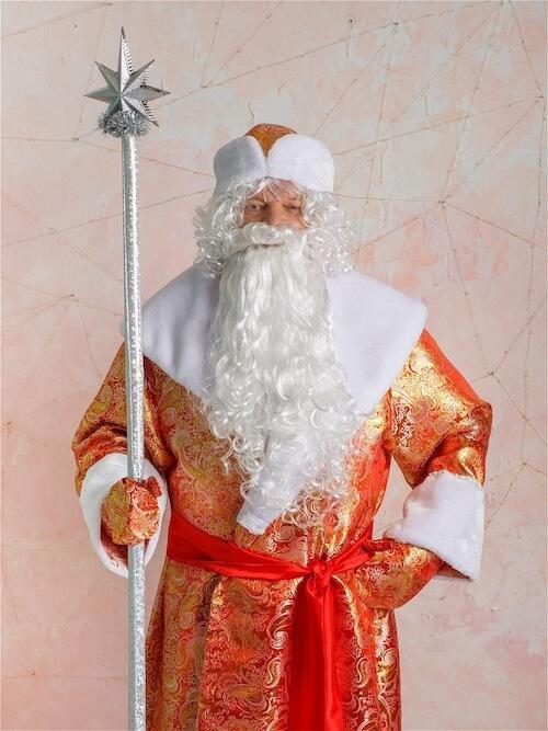 Дед Мороз в Парчовом костюме крупный план