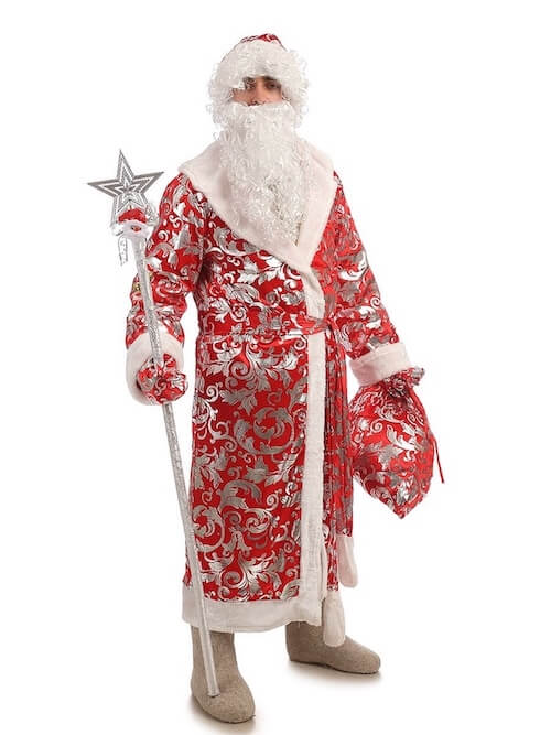 Дед Мороз с посохом в Блестящем костюме