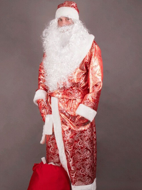 Дед Мороз с мешком подарков в золотом парчовом костюме