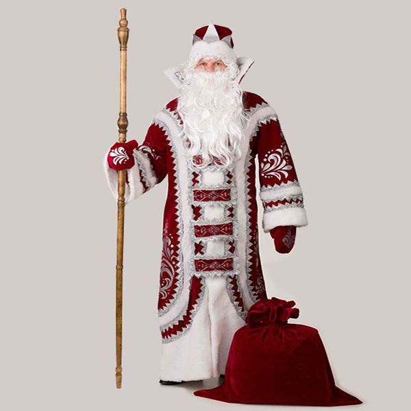Костюм Деда Мороза Купеческий Бордовый в Самаре