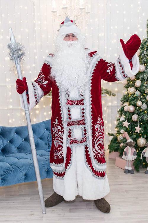 Костюм Деда Мороза Купеческий Бордовый купить в Самаре