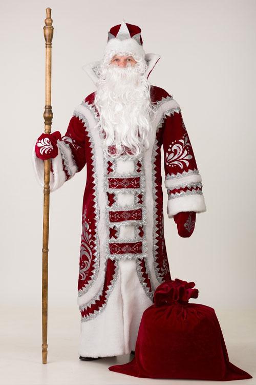 Костюм Деда Мороза Купеческий Бордовый купить дешево
